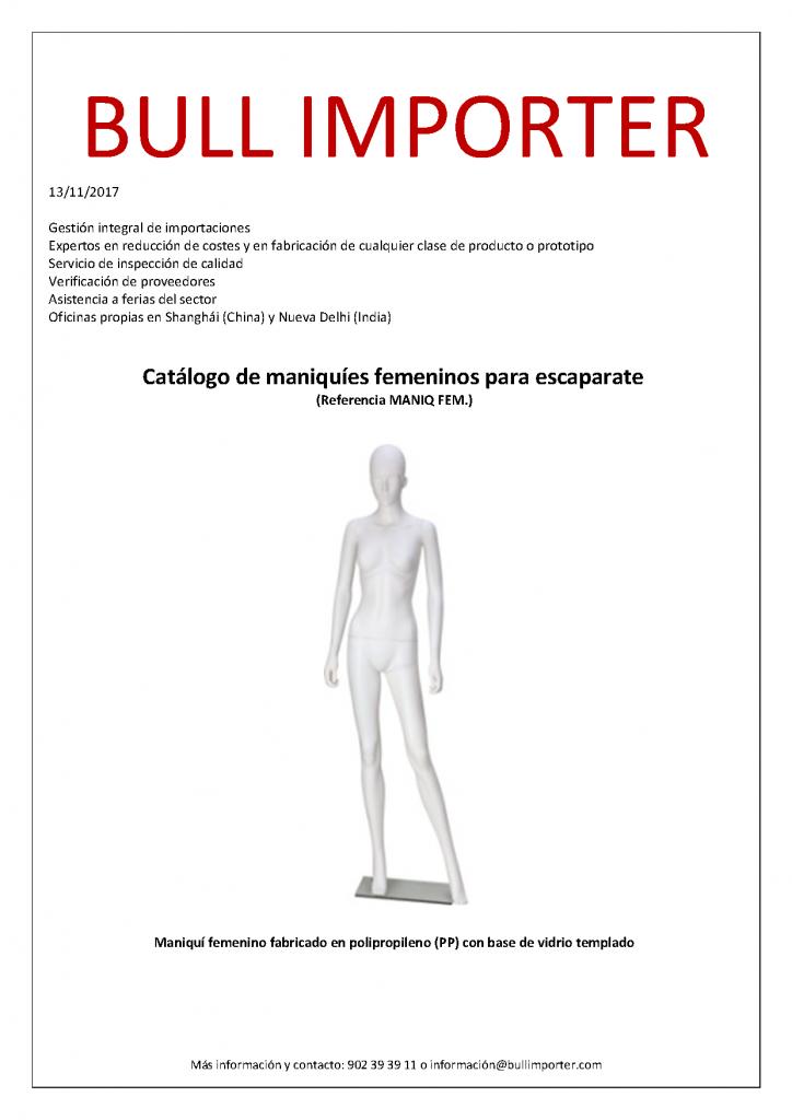 Catálogo de maniquíes de importación